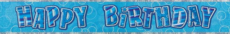 Blue Glitz Happy Birthday Prismatic Banner – 274cm