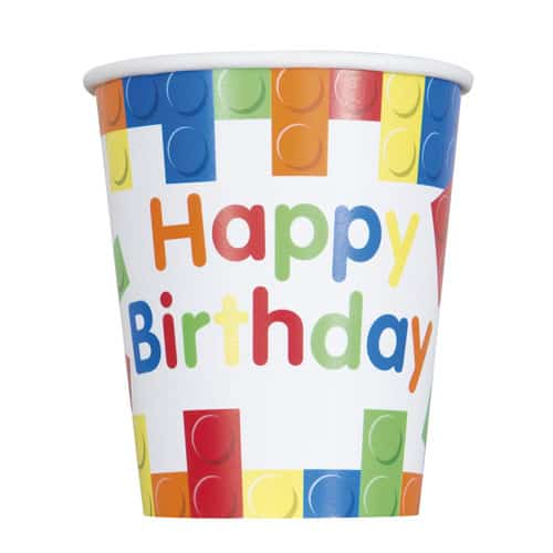 Building Blocks Happy Birthday Paper Cups 270ml - Pack of 8