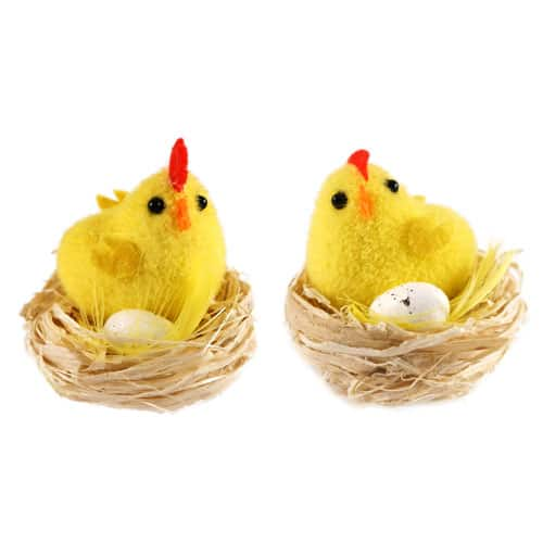 Easter Chick With Egg In Nest - Pack Of 2