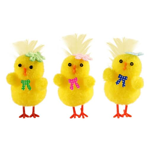 Easter Chicks With Bow Tie - Pack Of 3