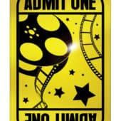 Golden Ticket  Admit One Decoration  38cm x 21cm
