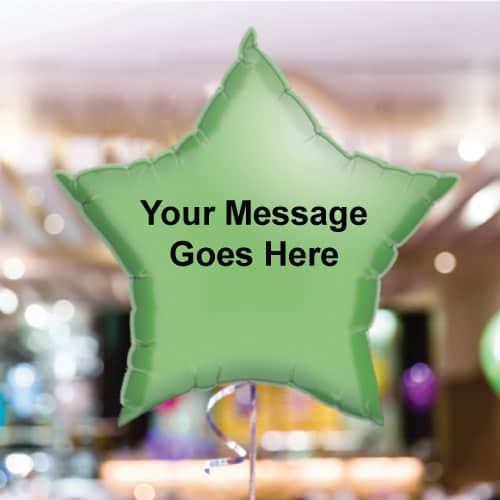 Personalised Green Star Foil Balloon - Pack of 10
