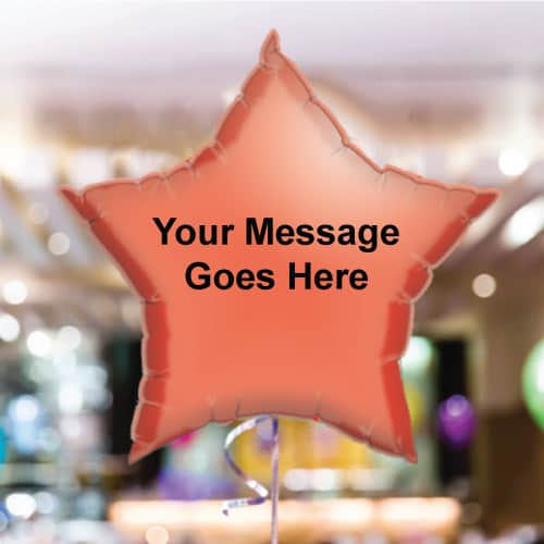 Personalised Red Star Foil Balloon - Pack of 10