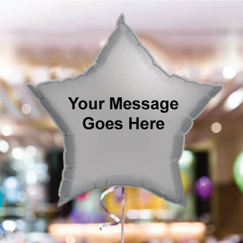 Personalised Silver Star Foil Balloon - Pack of 10