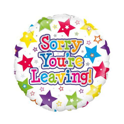 Sorry You're Leaving Stars Round Foil Helium Balloon 46cm / 18Inch