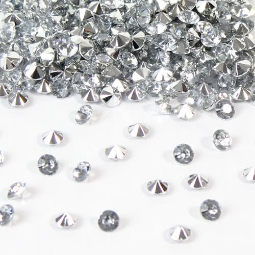 Clear 6mm Tiny Diamonds Premium Table Gems With Mirrored Back 28 Grams