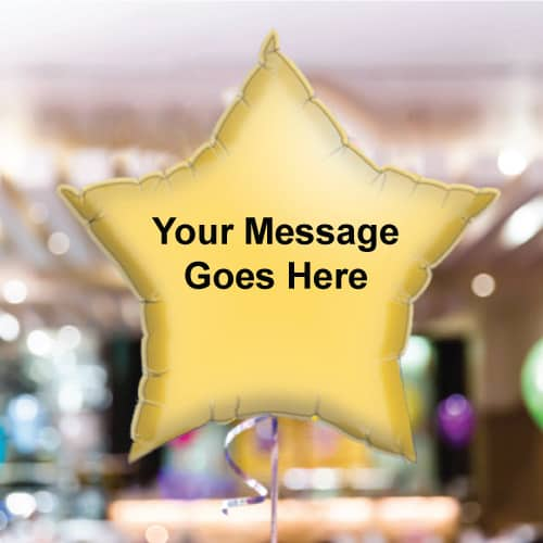 Personalised Yellow Star Foil Balloon - Pack of 10