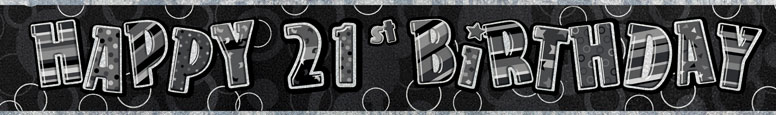 Black Glitz 21st Birthday Prismatic Banner – 274cm