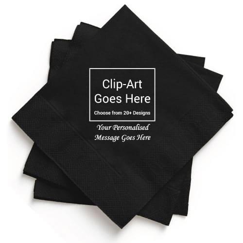 Black Personalised Napkin - Pack of 250