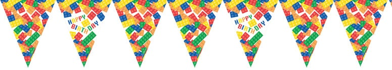Building Blocks Happy Birthday Flag Bunting With 11 Flags 370cm