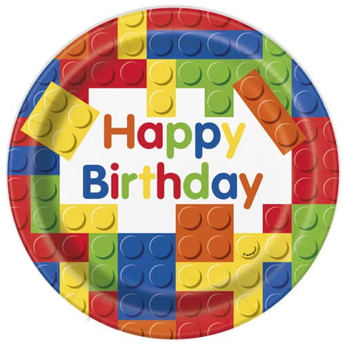 Building Blocks Happy Birthday Round Paper Plates 22cm - Pack of 8