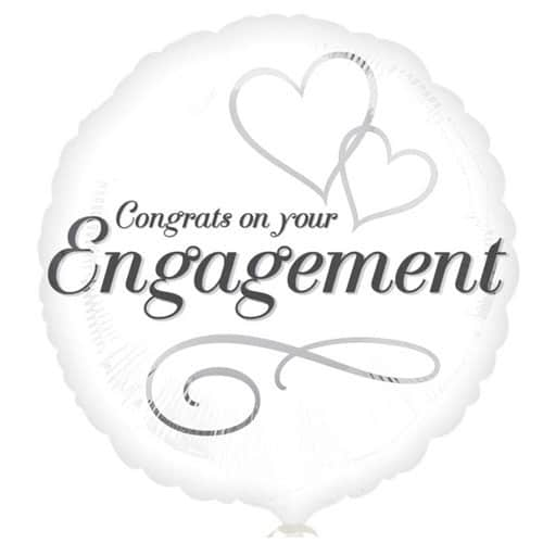 Congrats On Your Engagement Round Foil Helium Balloon 43cm / 17Inch