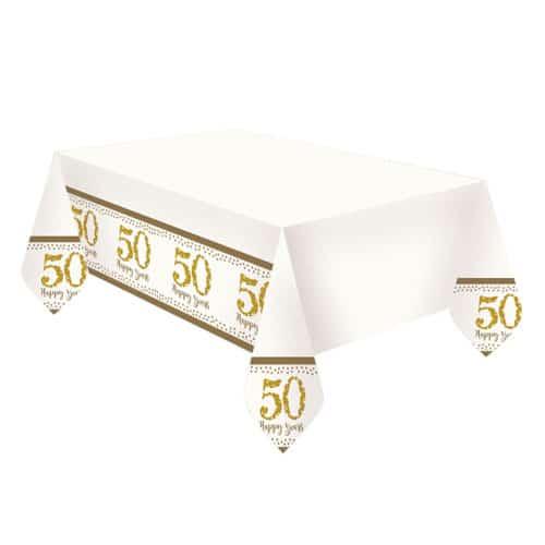 Sparkling Golden Anniversary Plastic Tablecover 180cm x 120cm