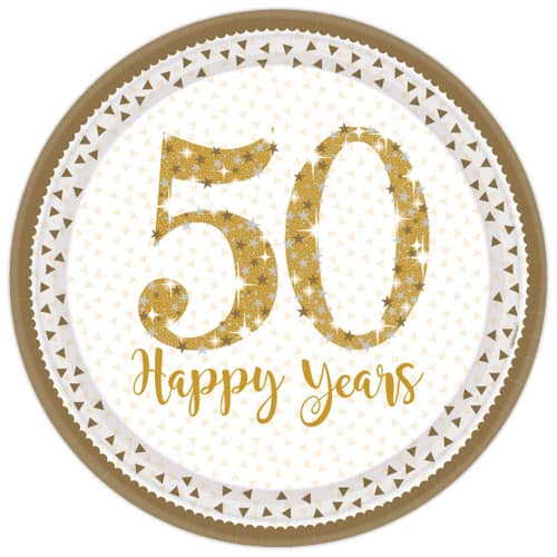 Sparkling Golden Anniversary Round Paper Plates 23cm - Pack of 8
