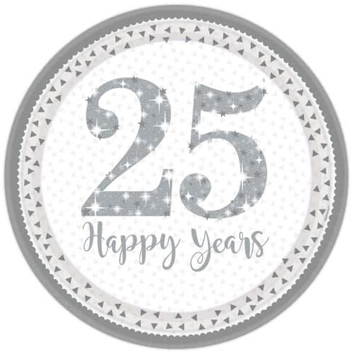 Sparkling Silver Anniversary Round Paper Plate 23cm