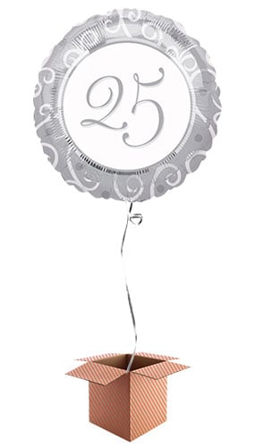 25th Silver Anniversary Round Foil Balloon - Inflated Balloon in a Box