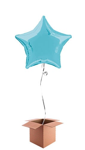 Baby Blue Star Shape Foil Balloon - Inflated Balloon in a Box
