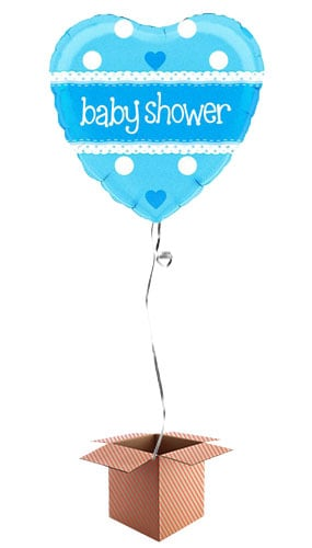 Baby Shower Blue Heart Shape Foil Balloon - Inflated Balloon in a Box