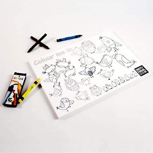 Birds Themed A4 Colouring sheet With 4 Crayon Product Image