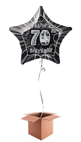 Black Glitz 70th Birthday Prismatic Star Shape Foil Balloon - Inflated Balloon in a Box