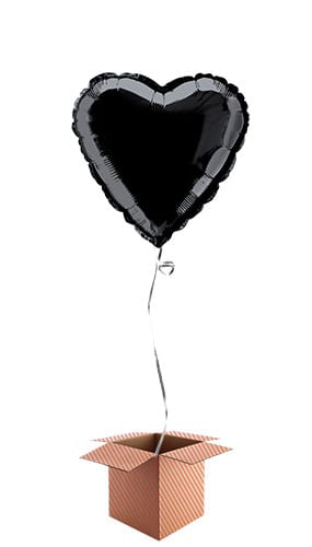 Black Heart Shape Foil Balloon - Inflated Balloon in a Box