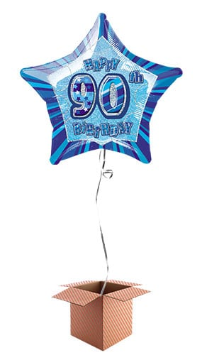 Blue Glitz 90th Birthday Prismatic Star Shape Foil Balloon - Inflated Balloon in a Box Product Image