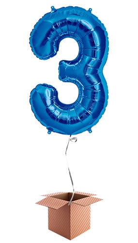 Blue Number 3 Supershape Foil Balloon  U2013 Inflated Balloon