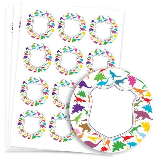 Dinosaur Design 60mm Round Sticker sheet of 12