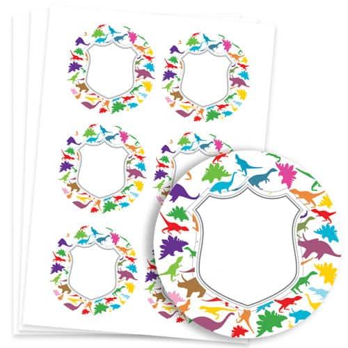 Dinosaur Design 95mm Round Sticker sheet of 6