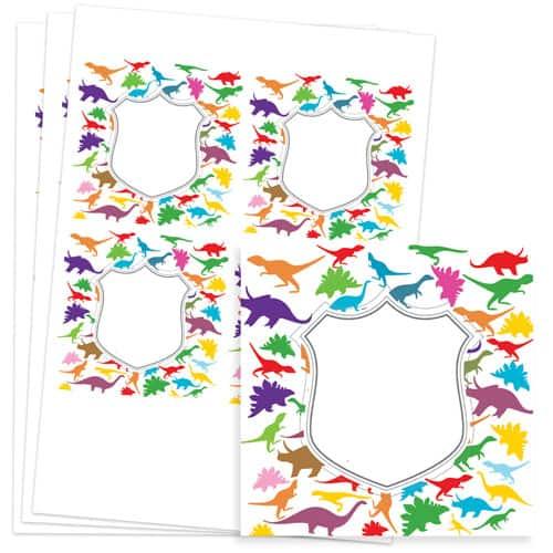 Dinosaur Design 95mm Square Sticker sheet of 4