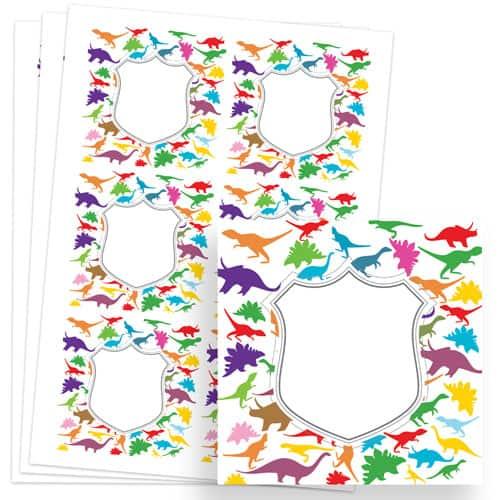 Dinosaur Design 80mm Square Sticker sheet of 6