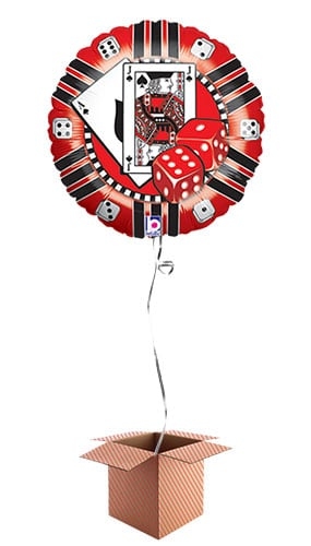 Casino Chip Round Foil Balloon - Inflated Balloon in a Box