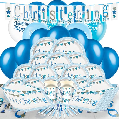 Christening Blue Theme 16 Person Delux Party Pack