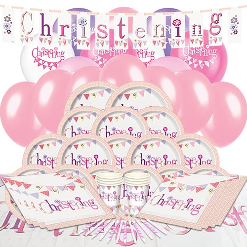Christening Pink Theme 16 Person Delux Party Pack