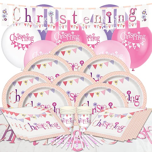 Christening Pink Theme 8 Person Delux Party Pack