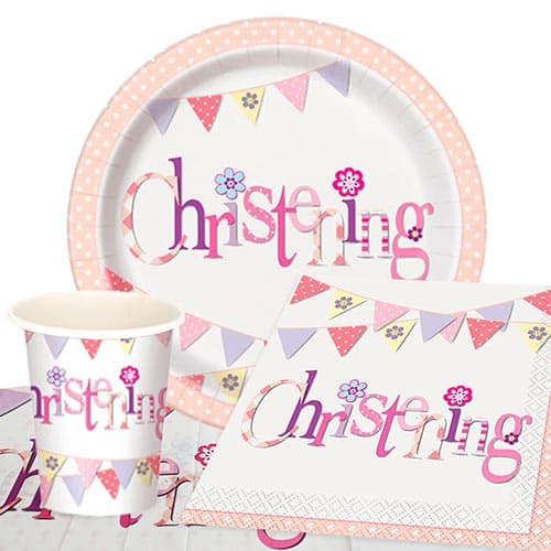 Christening Pink Theme 8 Person Value Party Pack