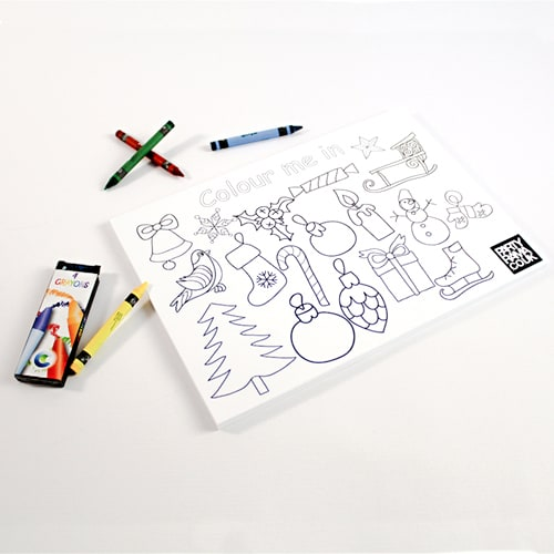 Christmas Themed A4 Colouring Sheet With 4 Crayon Product Image