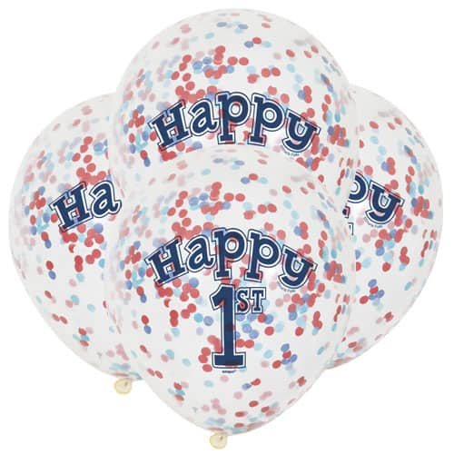 Clear Happy 1st Biodegradable Latex Balloon With Multi Colour Confetti Inside 30cm Pack of 6 Product Image
