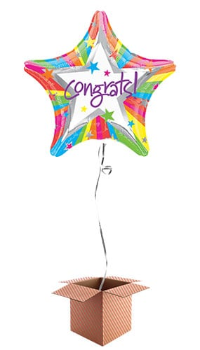 Congrats Star Foil Balloon - Inflated Balloon in a Box