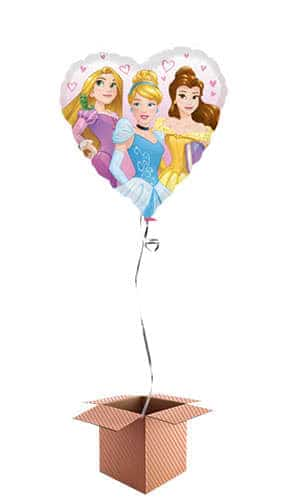 Disney Princesses Heart Shape Foil Balloon - Inflated Balloon in a Box Product Gallery Image