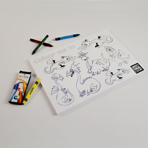 Dragons Themed A4 Colouring sheet With 4 Crayons Product Image