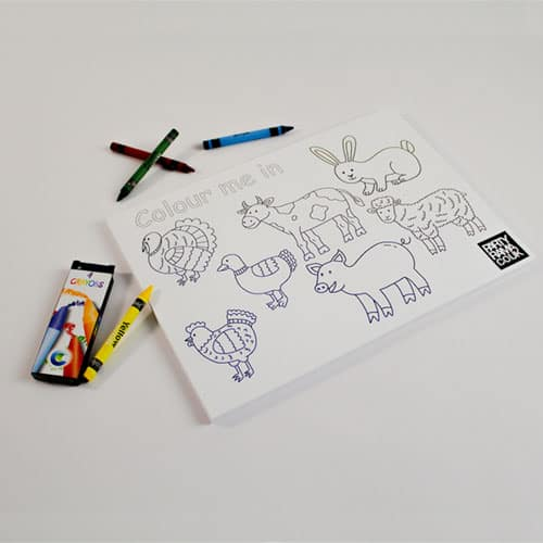 Farm Animals Themed A4 Colouring sheet With 4 Crayons Product Image
