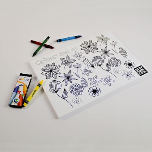Flowers Themed A4 Colouring sheet With 4 Crayons Product Image