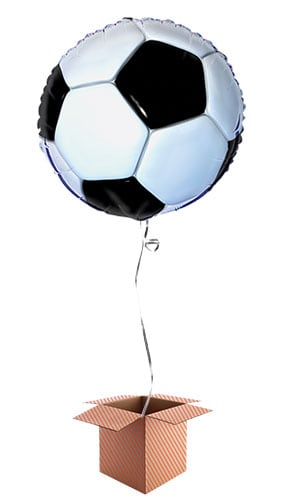 Football Round Foil Balloon - Inflated Balloon in a Box
