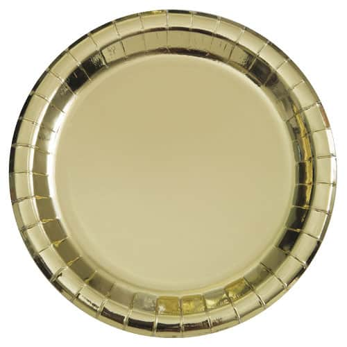 Gold Foil Round Paper Plates 22cm - Pack of 8