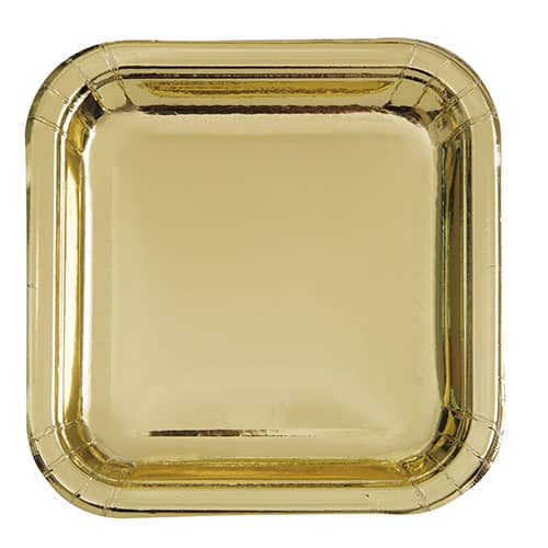 Gold Foil Square Paper Plates 17cm - Pack of 8