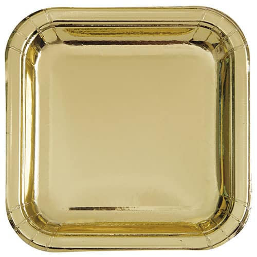 Gold Foil Square Paper Plates 22cm - Pack of 8