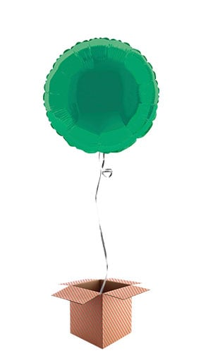 Green Round Foil Balloon - Inflated Balloon in a Box