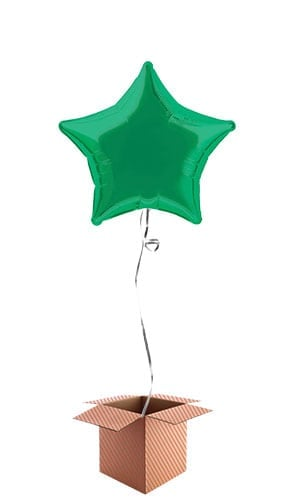 Green Star Shape Foil Balloon - Inflated Balloon in a Box Product Image
