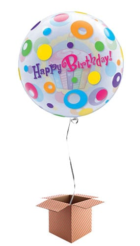 Happy Birthday Cupcake Bubble Qualatex Balloon - Inflated Qualatex Balloon in a Box Product Image